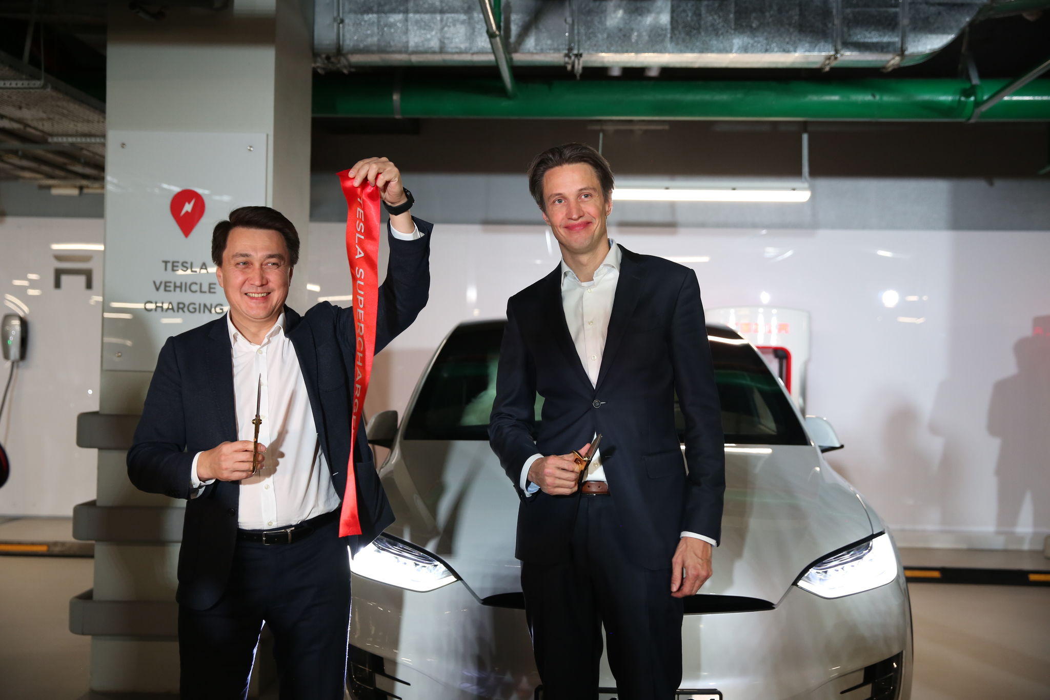 The first Tesla Supercharger stations in the CIS region opened in Talan Towers